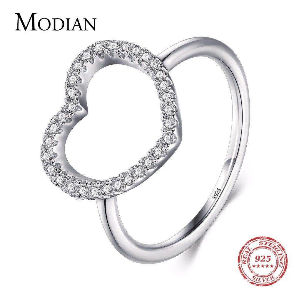 2019 Neue Design Fashion Solid 925 Sterling Silber Herz Form Klassische Liebe Ring 5a Zirkon Finger Ringe Für Frauen Engagement Jewe Dauerhafte Modellierung