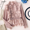 Sweet Hollow Lace Ruffled Shirts 2019 Stand Collar Spliced Lace Pleated Blouses 3D Lotus Decor Multi-Layers Long Sleeved OL Tops