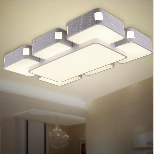 Modern ceiling lights LED light star bedroom acrylic lamp rectangle Hollow brightness dimmable 110-220V Ceiling light