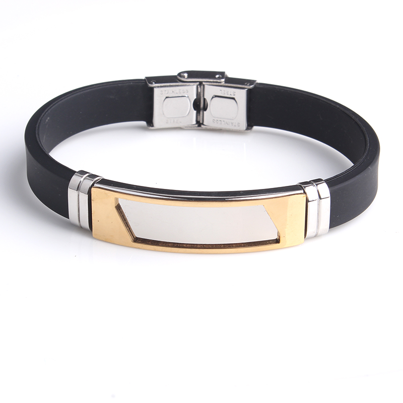 Gold Color Square Silicone 316L Stainless Steel Bracelets For Men