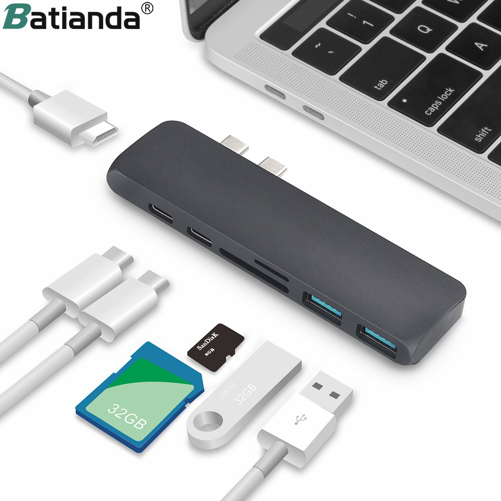 Dual Ports USB C Hub zu 4K HDMI Adapter <font><b>Thunderbolt</b></font> <font><b>3</b></font> Dual USB <font><b>3</b></font>.1 Daten Typ-C Hub TF <font><b>SD</b></font> PD Adapter für MacBook Pro Air 13 2019 image