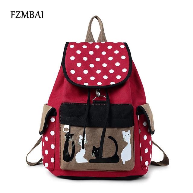 FZMBAI Vintage Cat Cartoon Canvas Backpack School Bags For Teenager Girls Bookbags Cute