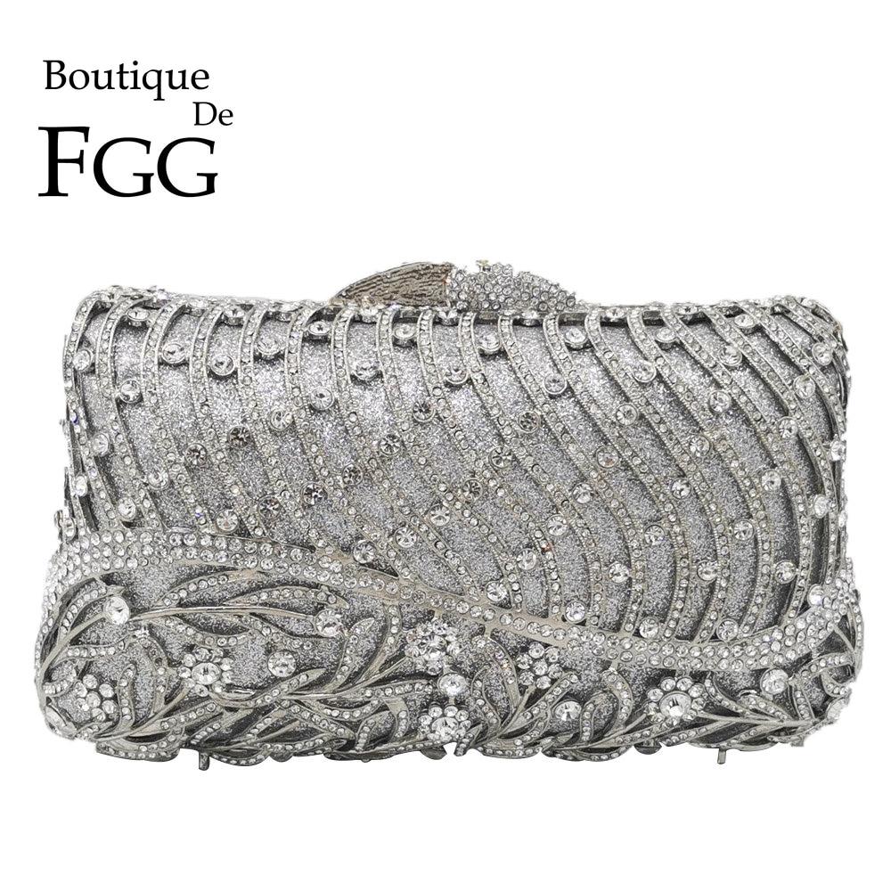Boutique De FGG Dazzling Women Crystal Flower Evening Bag Metal Clutches Diamond Wedding Minaudiere Handbag Bridal