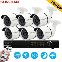 SUNCHAN 1080P Full HD AHD 8CH DVR 6pcs 2 0MP 3000TVL SONY Bullet Security Camera 36pcs