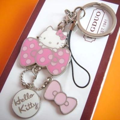Hello Kitty Keychain Cute Phone Strap Innovative Chaveiro Portachiavi Promotional Llaveros Key Holder Free Shipping