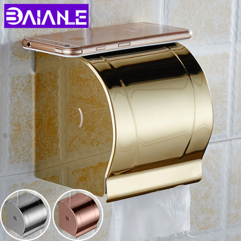 Bathroom Toilet Paper Holder Cover Waterproof Stainless Steel Toilet Tissue Roll Paper Holder Gold Paper Towel Box Wall Mounted 2016 real toilet paper holder the airport train station public hotel bathroom stainless steel hand towels sassafras box frame