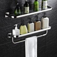 Wall Mounted 30CM Glass Shelf Bathroom Shelves Single Tier Bath Shelf Toilet Glass Shelf With Towel Bar Bathroom Accessories