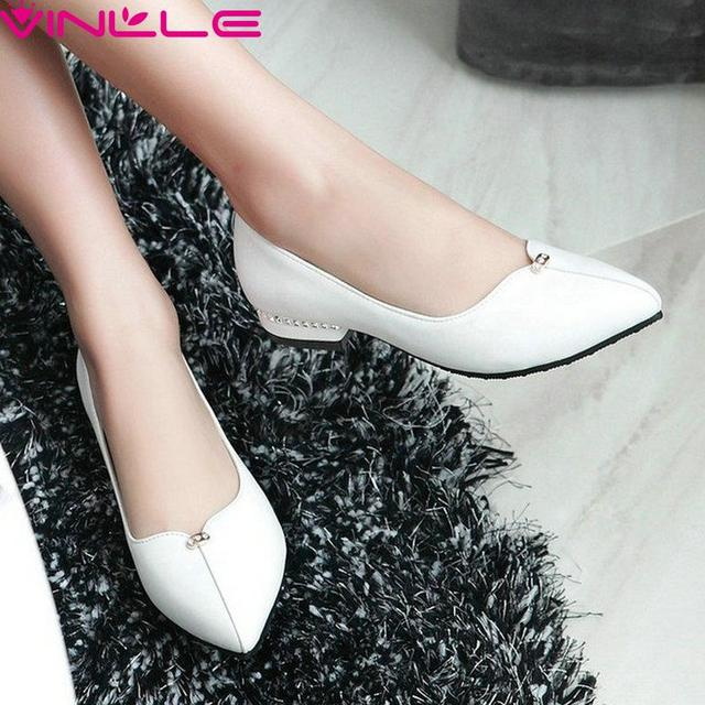 Concise Dating White Women Shoes Thick Heel Summer Woman Pumps PU Pointed Toe  Rhinestone Slip on Ladies Wedding Shoes Size 43