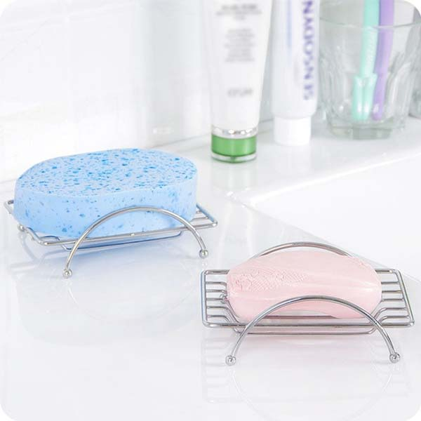 JFBL 2X 1 Piece Fashion Brief Stainless Steel Bathroom Square Soap Dishes Box Holder Tray Silver