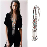 2016 New Big Brand Multi Layer Coin Fashion Long Beads Resin Statement Metal Vintage Necklace Pendants