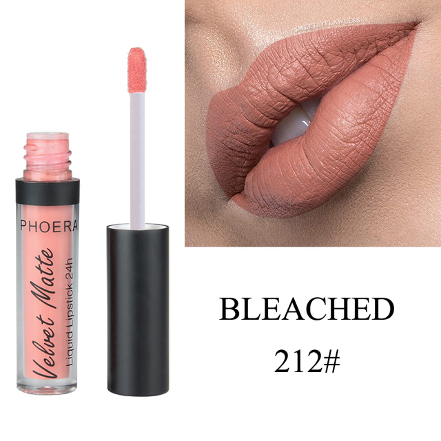PHOERA Sexy Rouge Natural impermeable hidratante labial mate terciopelo antiadherente taza brillo de labios líquido tubo de lápiz labial