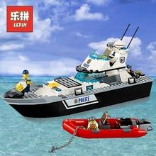 Новый LePin Сити 02049 полицейский патруль лодка строительные блоки кирпичи совместимые Legoinglys творческие игрушки 60129 детей Рождество