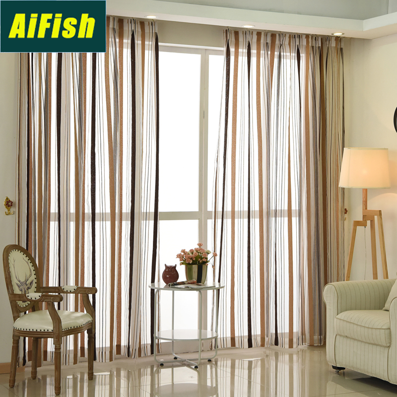 Modern Vertical Stripes Blackout Curtains And Window Tulle For Living Room Customized Brown Window Curtain Drapery Bedroom M0464