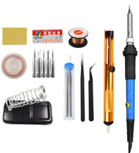Electric Soldering Irons Welding Soldering Iron Tool With 5pcs Iron Tips Mini Handle Heat Pencil Soldering Iron 60W Tweezers цена
