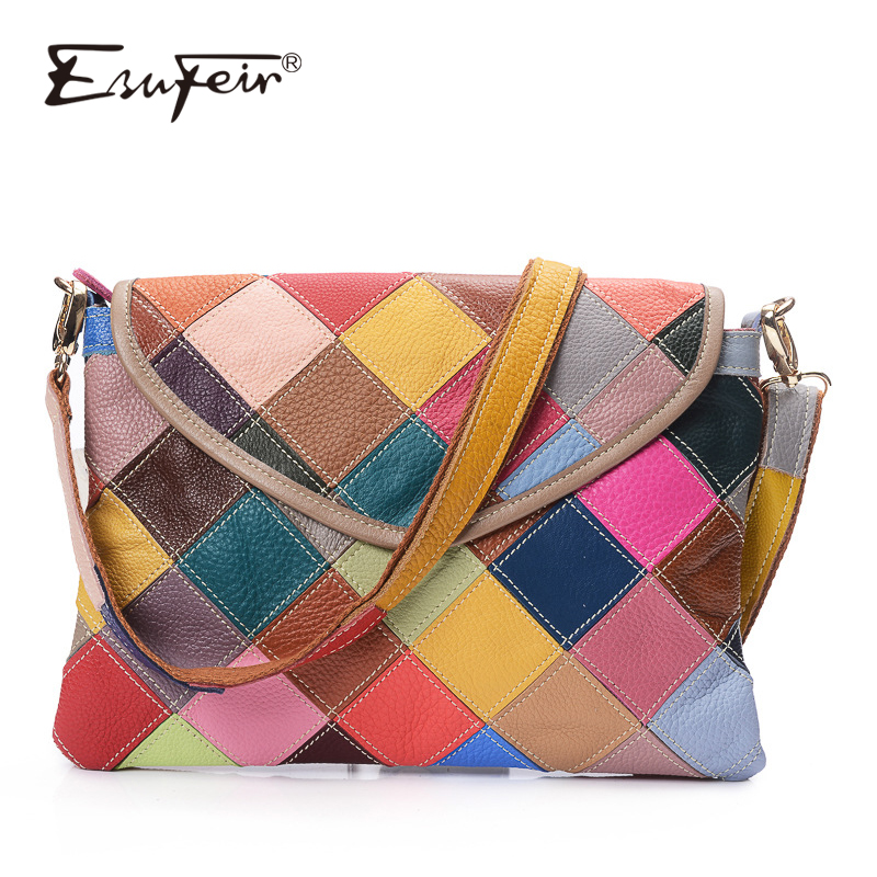 ESUFEIR Genuine Leather Women Messenger Bag Color Leather Patchwork Shoulder Bag Luxury Women Handbags Designer Crossbody Bag genuine leather women striped handbags patchwork lady shoulder crossbody bag brand design colorful stripe sling bag random color
