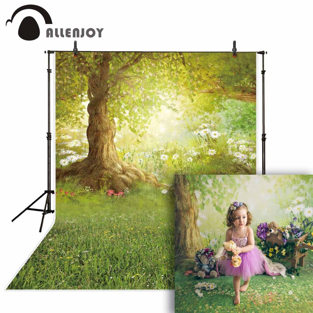 Retro 10x15 FT Backdrop Photographers,Spring Meadow Wildflower on Green Background Field Yard Bedding Plants Background for Baby Birthday Party Wedding Vinyl Studio Props Photography