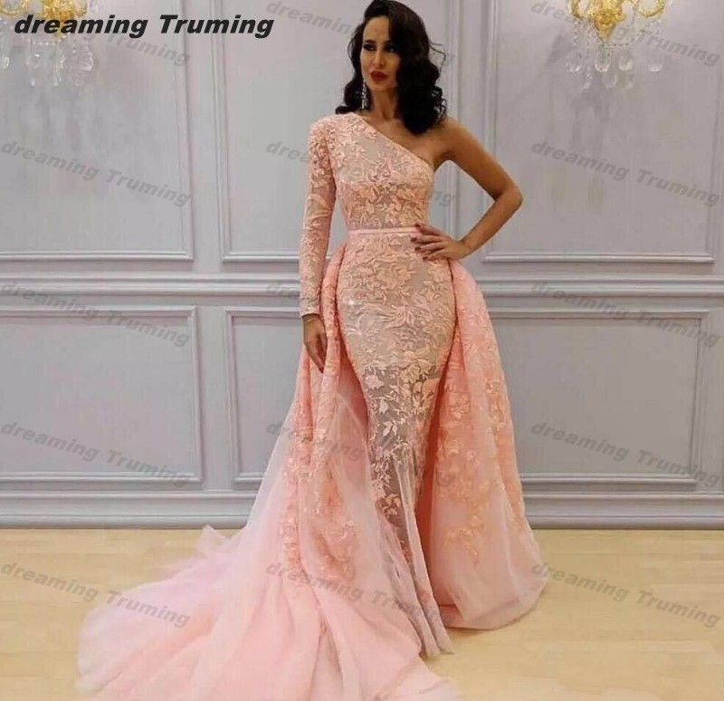 1aa34a996915 2019 Lace Appliques Mermaid Prom Dresses One Long Sleeves Pink Dubai Saudi Arabia  Evening Party Dress With Detachable Train ~ Perfect Sale July 2019