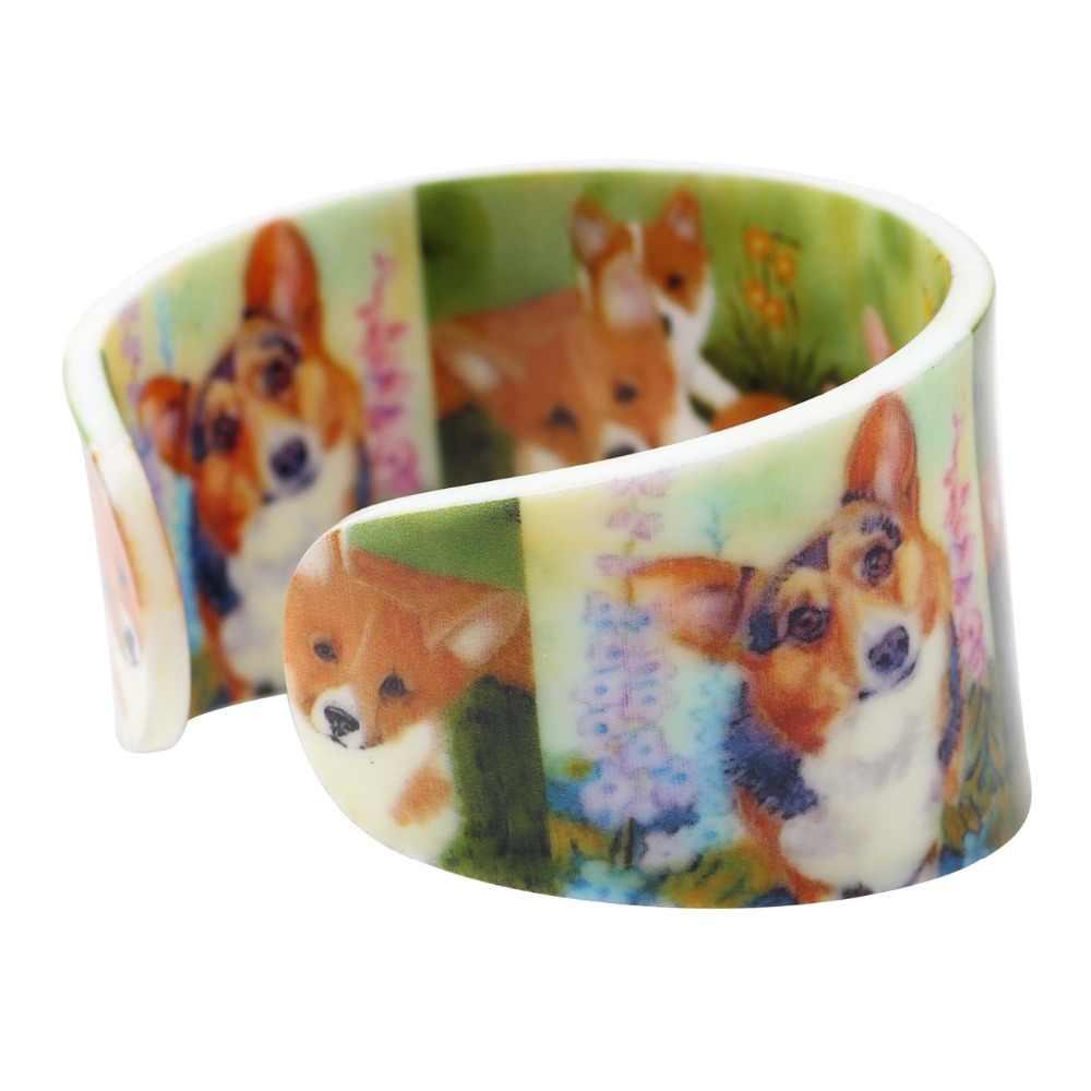 Weveni軽量プラスチック広い愛コーギー犬腕輪ブレスレット用女性新しいファッション動物ジュエリーオリジナル女の子アクセサリー