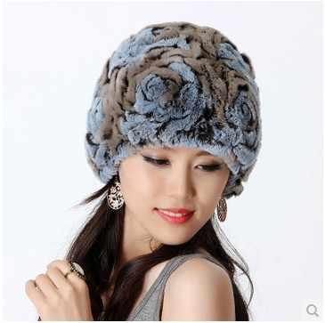المرأة الشتاء اليدوية حقيقية حقيقية أرنب ريكس الفراء محبوك قبعات قبعات الفراء سيدة الإناث vf0444 الأذن حامي