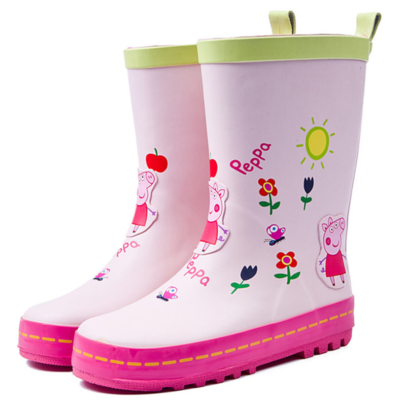Children Rain Boots Cute Cartoon Piggy Rubber Waterproof for Girls Shoes Student Footwear Free shipping