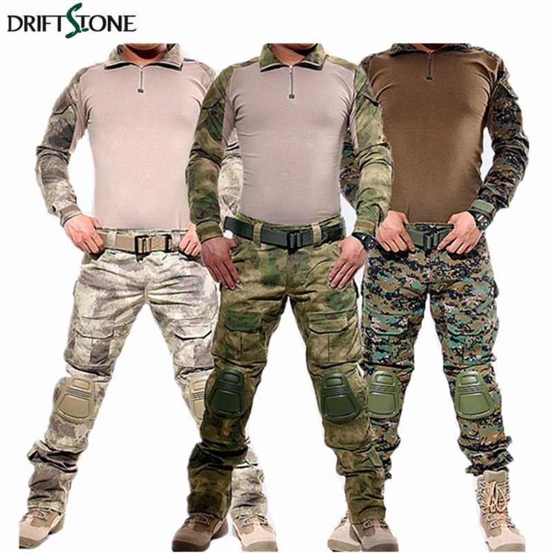 Ordu askeri üniforma kamuflaj taktik savaş takım elbise Airsoft savaş oyunu giyim gömlek + pantolon dirsek diz pedleri