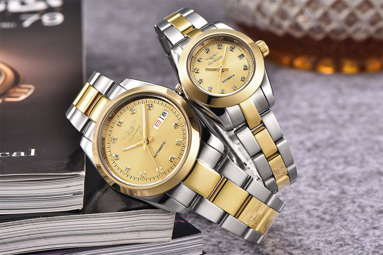 GUANQIN Gold Couple Watch Men Women Mechanical Watch Luminous Calendar Week Waterproof Rhinestones Automatic Lovers Watches (13)