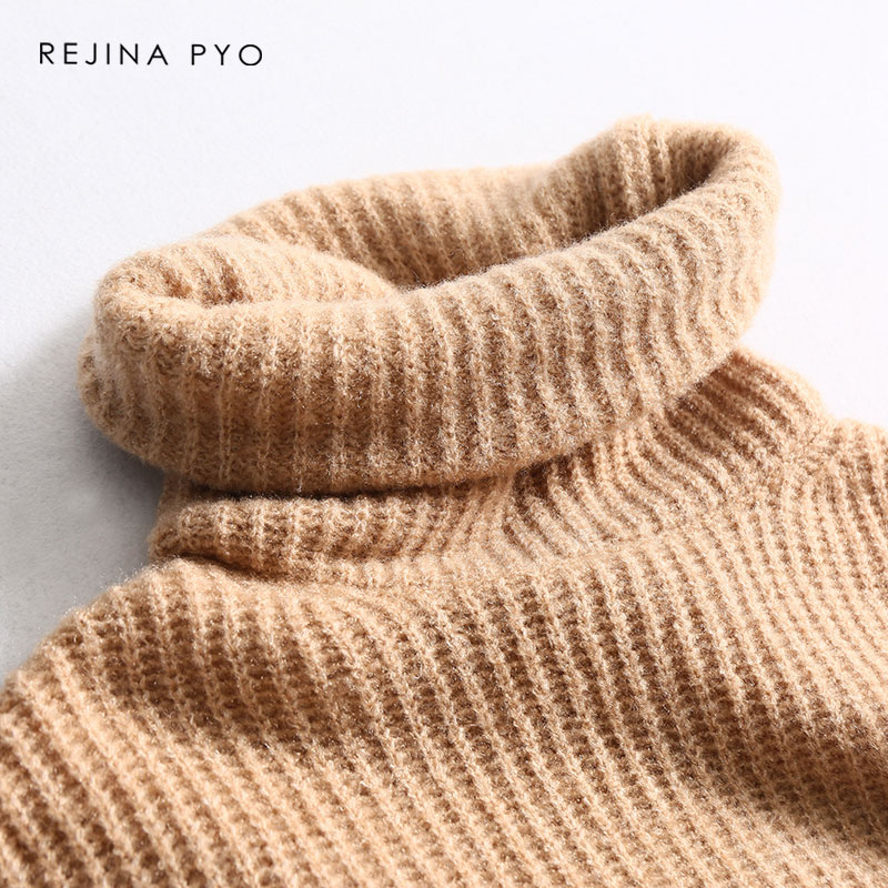 REJINAPYO 15 Color Women Fashion Solid Casual Knitted Sweater Female Turtleneck Oversized Pullover Ladies Elegant Loose Sweater 17