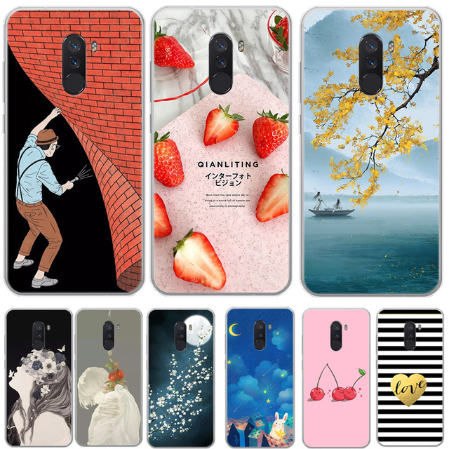release date eca87 f9434 US $4.28  For Xiaomi Pocophone F1 Silicone Case Soft Phone Capa Girl Flower  Back Cover For Xiaomi Pocophone F1 Poco F1 Clear bumper Coque-in Fitted ...