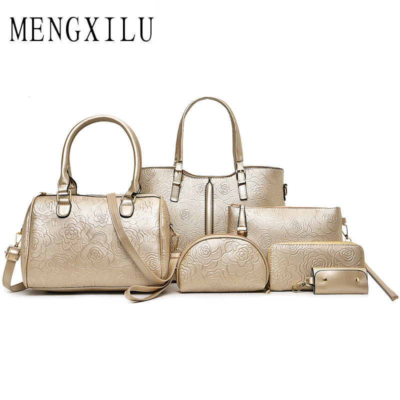 MENGXILU Fashion Embossed Women Handbags Large Capacity Women Shoulder Bag High Quality PU Leather Women Top-Handle 6 Sets Bag four sets 2016 new winter fashion handbags bear pendant high quality pu leather women bag wild large capacity shoulder bag