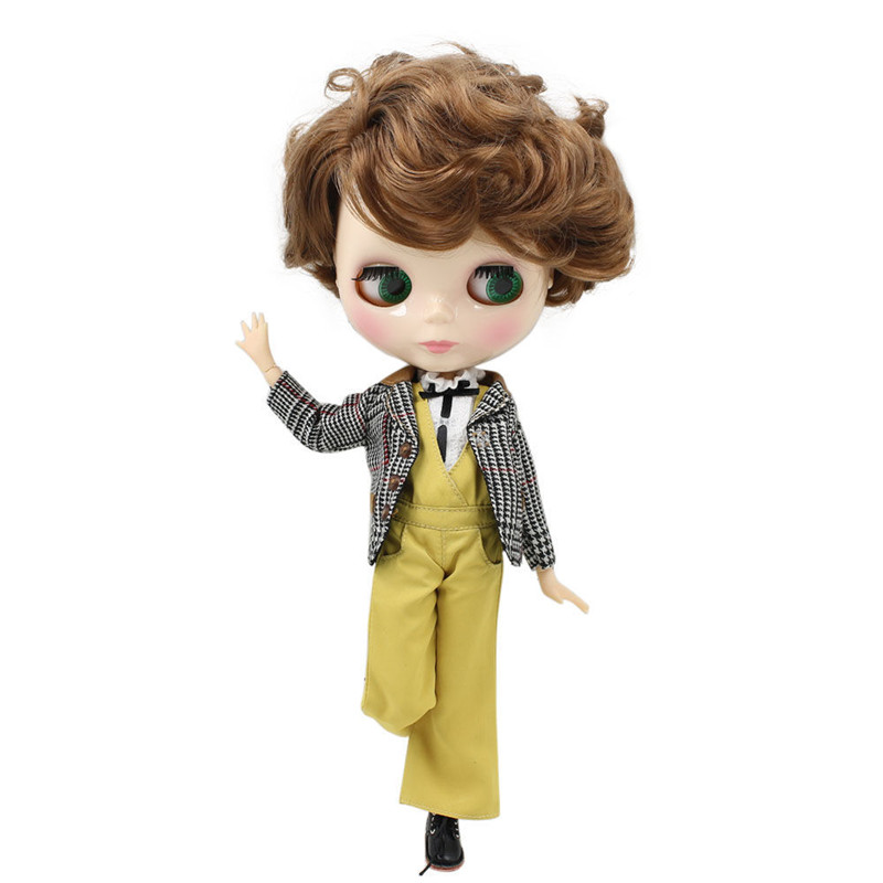 ICY Nude Blyth doll Series No BL9158 Brown curly hair Male Joint body 1 6 BJD