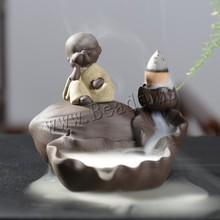 Ceramic Burner Backflow Incense Holder Creative Home Decor Smoke Waterfall Censer Little Monk Buddha Aroma