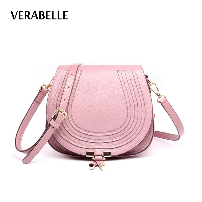 VERABELLE 2018 cow hide genuine leather women purses handbag full grain crossbody shoulder high quality saddle