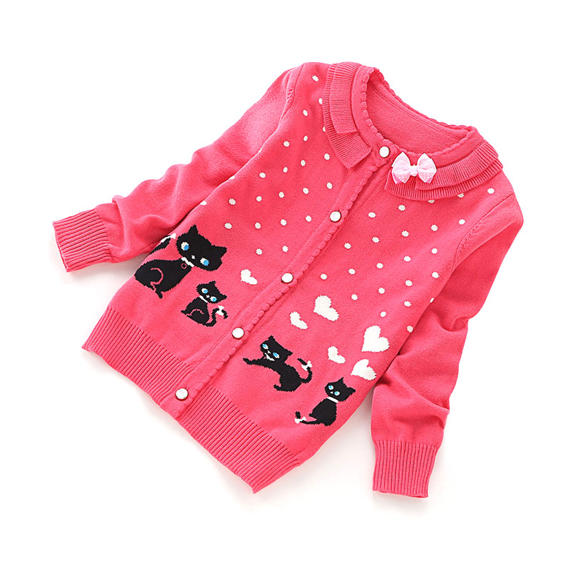 girls clothing set Winter Cotton Knitted Cat Bow Girls Cardigan Sweater  Children Cardigans Lovely Sweaters For 3~9 Years b84a1136a85