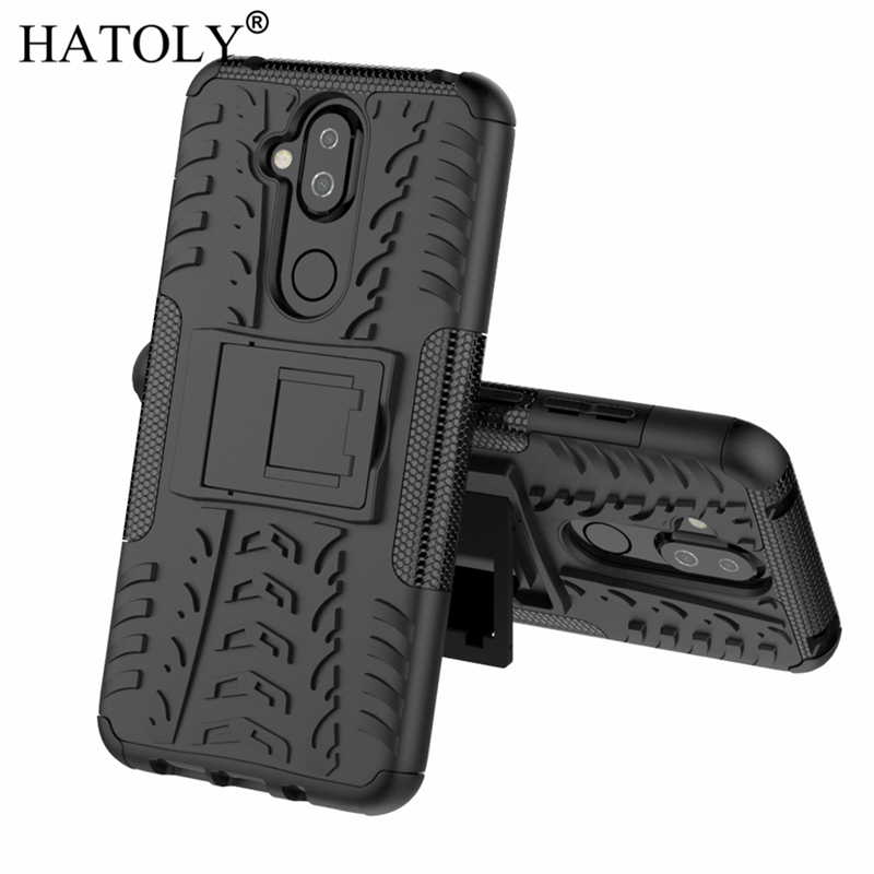 HATOLY For Cover <font><b>Nokia</b></font> <font><b>8.1</b></font> <font><b>Case</b></font> for <font><b>Nokia</b></font> <font><b>8.1</b></font> 2018 Armor Shockproof <font><b>Silicone</b></font> Hard Plastic <font><b>Case</b></font> For <font><b>Nokia</b></font> <font><b>8.1</b></font> TA-1119 with Holder image