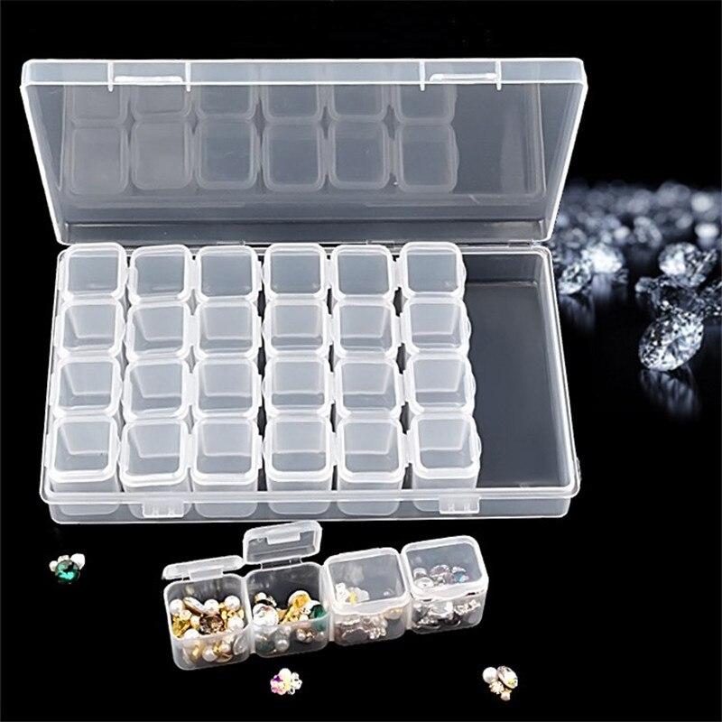 Caja de almacenamiento de joyería con 28 ranuras, organizador ajustable de diamantes de bordar, cuentas de plástico desmontables, herramienta de almacenamiento de pendientes y anillo de píldora
