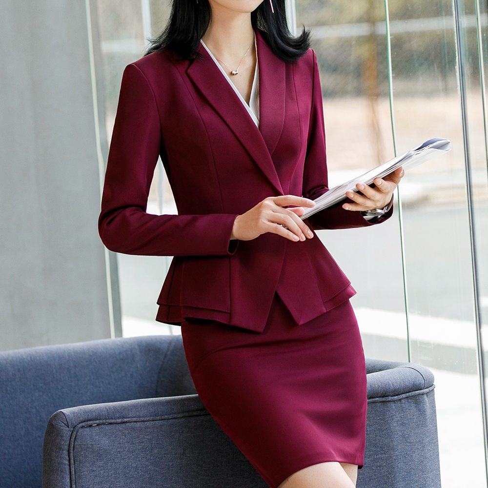 Taille black Office Pcs Suit Élégant Ensemble Suit wine Fmasuth Suit Red Suit Skirt Black Veste Volants Formelle Femmes blue Lady Pant 2 Jupe Costume 111yje1882cs01 FTnnP8wfq
