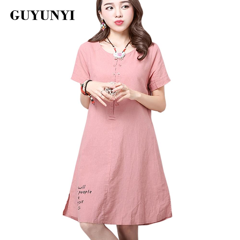 GUYUNYI linane kleidid lihtne trükkimine 2017 suve uus naiste riiklik tuule vabaaja lühikeste varrukatega puuvillane linane kleit CX069