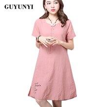 GUYUNYI Linen Dresses Simple Printing 2017 Summer New Women's National Wind Casual Short-sleeved Cotton Linen Dress CX069