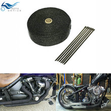15 m x 25 mm Black Exhaust Wrap Auto Motor Manifold Heat Shield  Resistant Muffler Pipe Tape