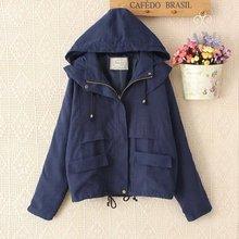 Hot sale!2016 spring new bat-sleeve loose casual windbreaker hooded women parka jacket coat real photo fashion coat for female