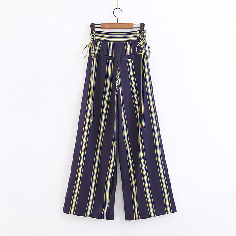 Waist Strap Adjustable Stripe High Waist Wide Leg Pants Fashion Casual Trousers Plus Size Pants