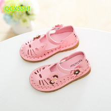 QGXSSHI Cute Cat Hollow Girls Sandals Breathable Leather Kids Shoes Children Princess Shoes for Baby Toldder Girl Sandals
