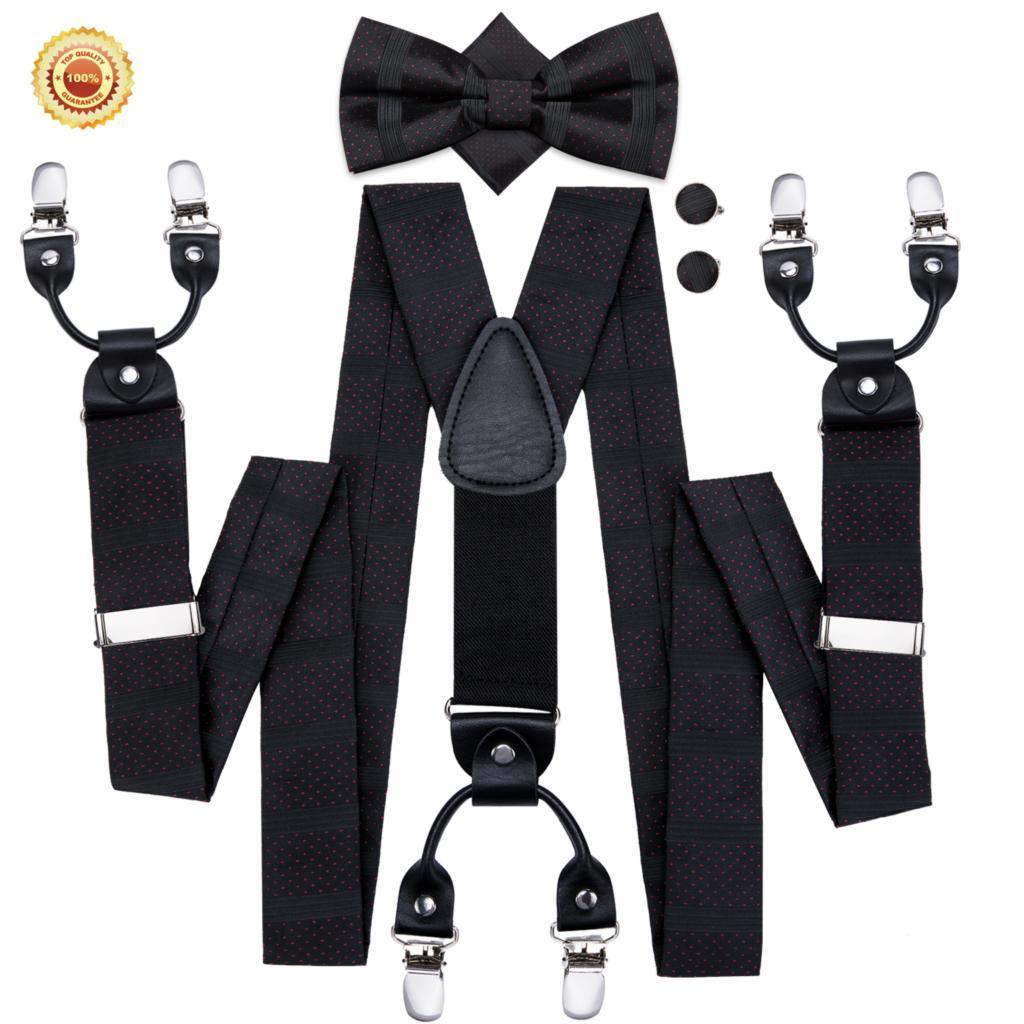 Men Suspenders Dark Elastic Shirt Suspender Dots Silk Bow Tie Cufflink Set 6 Clips Brace Strap For Suit Pants Hi-Tie BD-3010