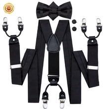 ผู้ชาย Suspenders Dark ยืดหยุ่นเสื้อแขวน Dots ผ้าไหม Bow Tie Cufflink ชุด 6 คลิปรั้งสำหรับชุดกางเกง Hi  Tie BD 3010