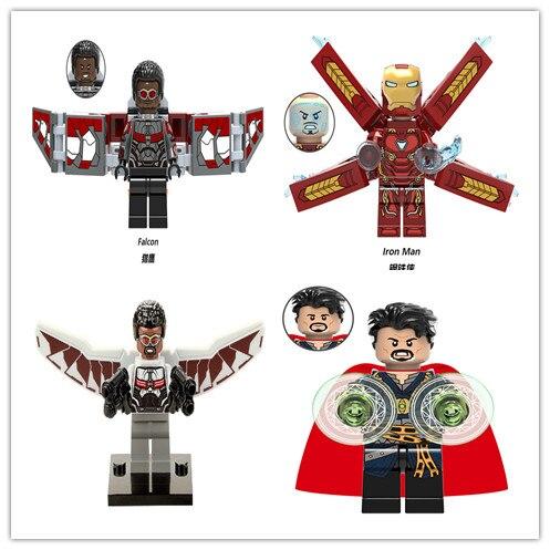 100PCSBuilding bloki XH829 Super Heroes Falcon Marvel MK50 Mark żelazne mężczyzna lekarz dziwne figurki cegły dla dzieci zabawki prezentowe w Klocki od Zabawki i hobby na  Grupa 1
