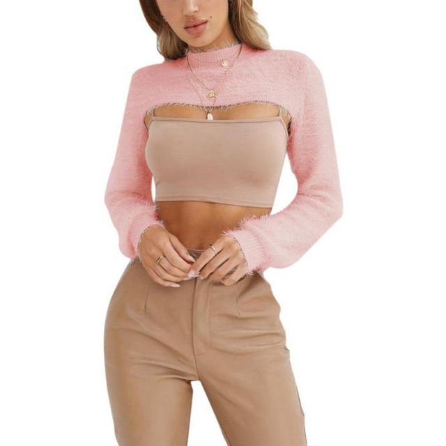 Sexy Crop Sweater Women Pullover Winter Tops Streetwear Black White Pink  Sweaters Fall 2018 Lady O ec5cb713d