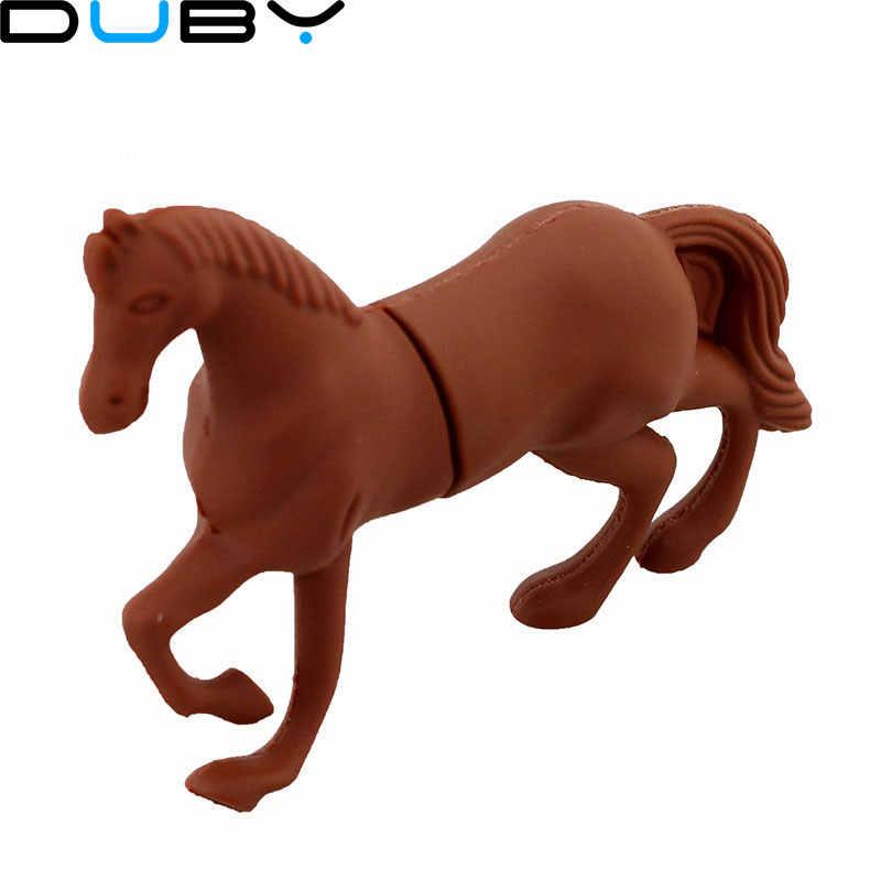 64 GB Usb-Stick, Freies verschiffen! Cartoon U disk schwarz und braun pferd USB-stick niedlichen stich pferd stift stick silikon-stick