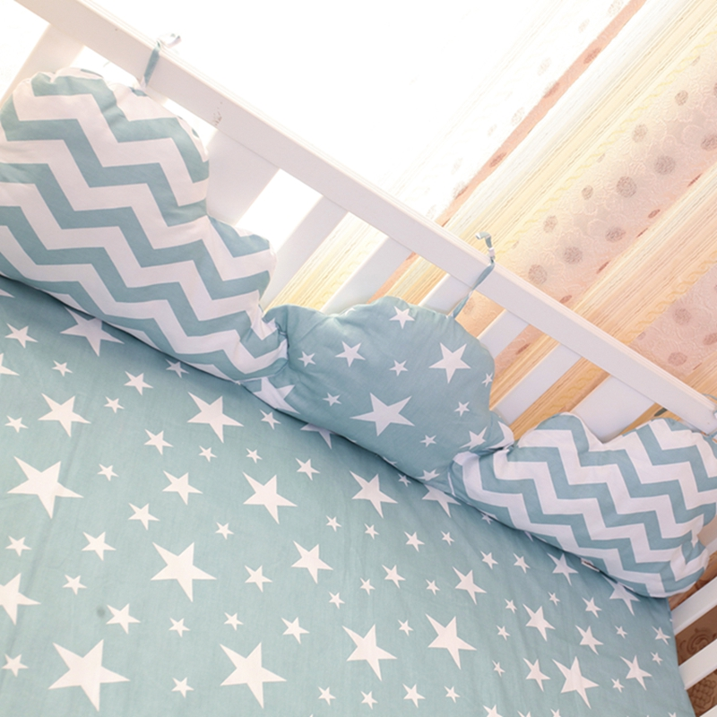 120 * 30cm Baby Bed Bumpers Nordic Style Soft Clorud Form Baby Cot Bumper Cotton Print Crib Dekorationer Baby Bed Bumper Bedding