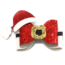 Adogirl 10 pcs Sequins Christmas Hair Bows with Xmas Hat Girls Party Hairgrips Handmade Boutique Clips Accessories