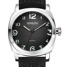SONGDU fashion simple men waterproof quartz watch Big dial leisure sports luminous leather strap male watches reloj hombre